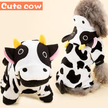 Hipidog Small Dog Cow Costume Clothes Hoodies Warm Winter Chihuahua Velvet Cute Pet Jacket Autumn Jumpsuit Clothing