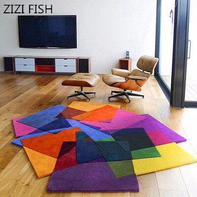Креативный ковер ручной работы гостиная журнальный столик в форме ковер цветной ковер модный Индивидуальный ковер