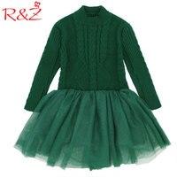 R & Z 2017 אופנה חדשה שמלת ילדה ילדי החורף סרוגים סוודרים עבים חם חוט נסיכת בגדי ילדי בגדי בנות אדום G