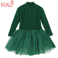 R&Z 2017 New Fashion Sweater Thick Warm Girl Dress Knitted Winter Kids Girls Clothes Children CLothing Princess Yarn Red G