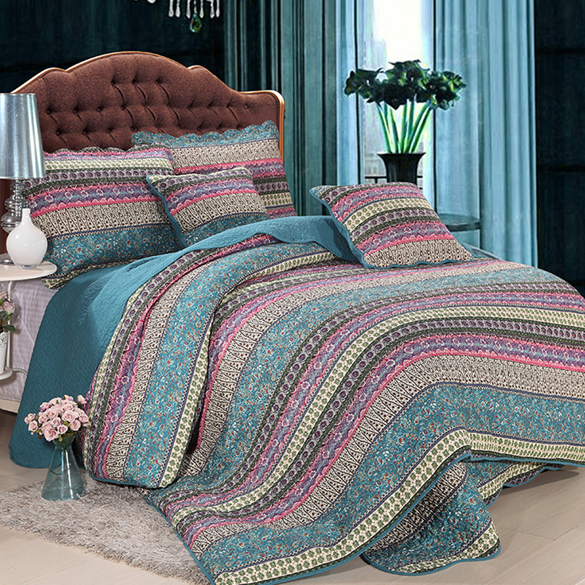 Handmade bedding set king size luxury striped classical for Luxury cotton comforter sets
