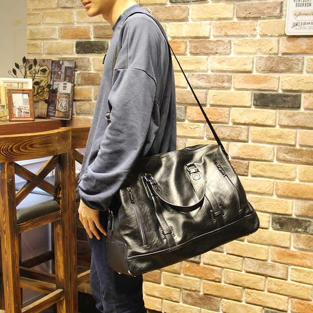 cc4200e4d8 Leather Men Travel Bags Carry on Luggage Duffel Bag Travel Tote Large Weekend  Bag Overnight Reisetasche