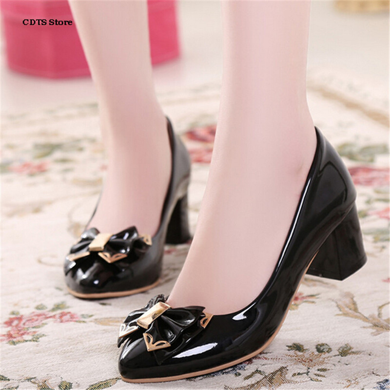 CDTS Spring pointed toe diamond thick heels shoes shallow mouth small yards 31 32 33 plus 40 41 42 43 women