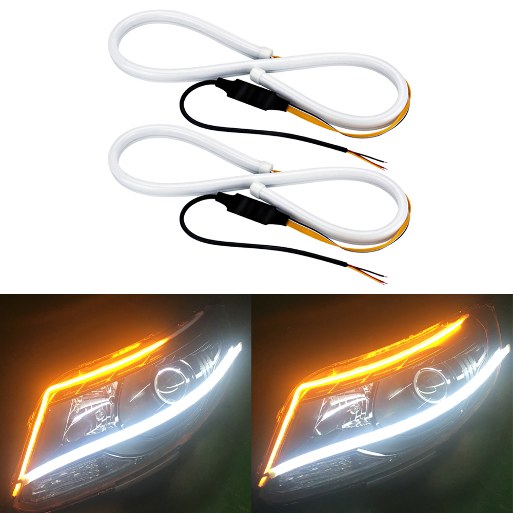 2Pcs 45cm 60cm Turn Signal DRL Flowing Daytime Running Light Flexible Soft Tube Guide Car Light Strip For BMW White and Yellow 6pcs 60cm flexible tear strip switchback daytime running light drl with turn signal light 7 dual color fd 4767
