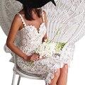 Marca Nuevo Crochet Calado de Encaje Sexy Vestido de La Manera Correa de Espagueti Sin Mangas Vestido de Fiesta Vestidos de Las Mujeres Vestidos de Verano YLFZ1130