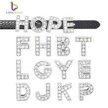"""8 мм, стразы, ползунок, буквы, Подвески """"A-Z""""(10 шт./лот), алфавит, подходят для DIY браслетов и браслетов LSSL01"""