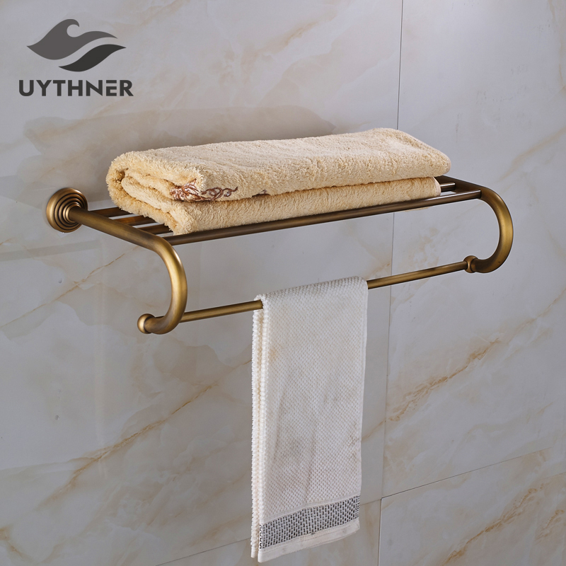 цена на Antique Brass Bathroom Towel Rack with Single Towel Bar Solid Brass Towel Holder Wall Mounted