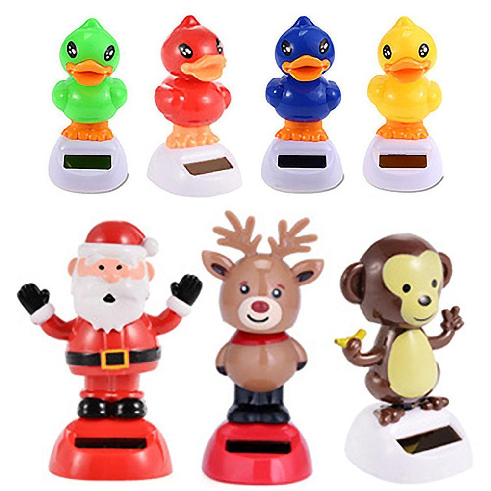 Adorable Solar Powered Dancing Monkey Cat Panda Animal Father Christmas Swinging Animated Bobble Dancer Toy Car Decoration Gift