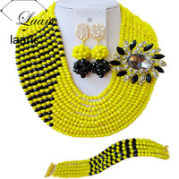 Laanc Crystal Beaded Necklace Opaque Yellow and Black African Beads Jewellery Sets for Women Nigerian Wedding C10JK032