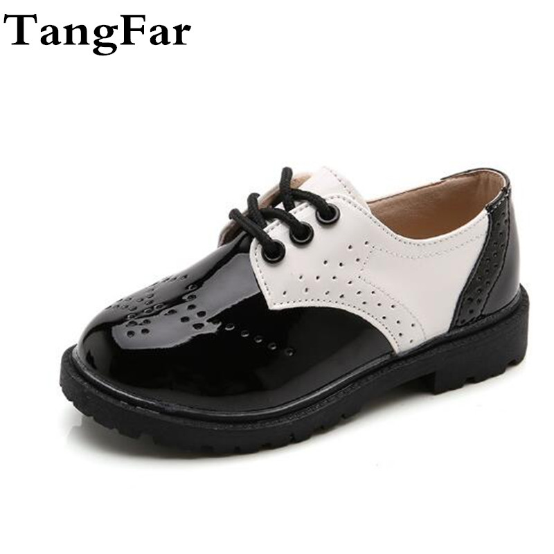 New Boys Girls Formal Leather Wedding Shoes England Style Kids Performance Shoes Gentle Boys Patent Leather Dress Shoes