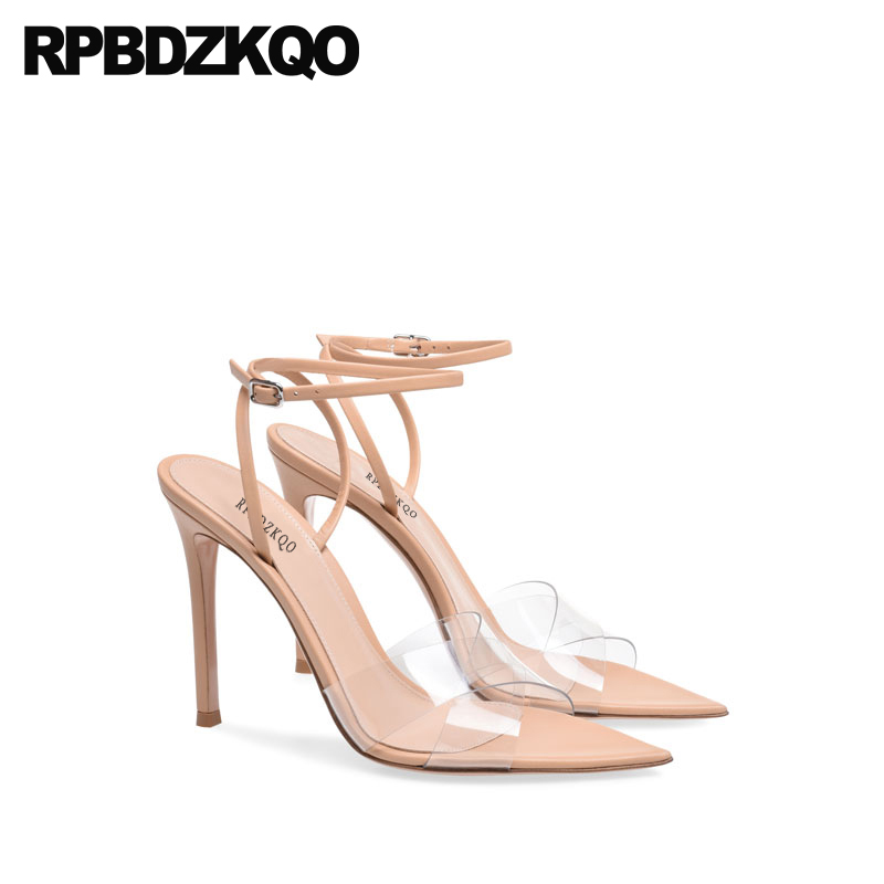 Slingback Shoes Nude Women Sandals 2018 Summer Pvc Open Toe High Heels Designer Sexy Transparent Ankle Strap Pumps Stiletto women office shoes solid color fashion pointed toe stiletto high heels elastic band ankle strap slingback sandals pumps leather