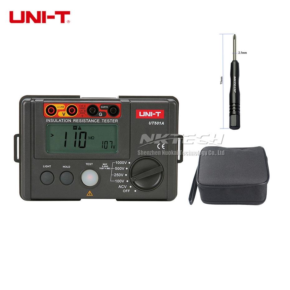UNI-T UT501A 1000 V aislamiento Megger probador de resistencia a tierra 5 Gohm megómetro voltímetro herramienta de diagnóstico Auto Range Meter