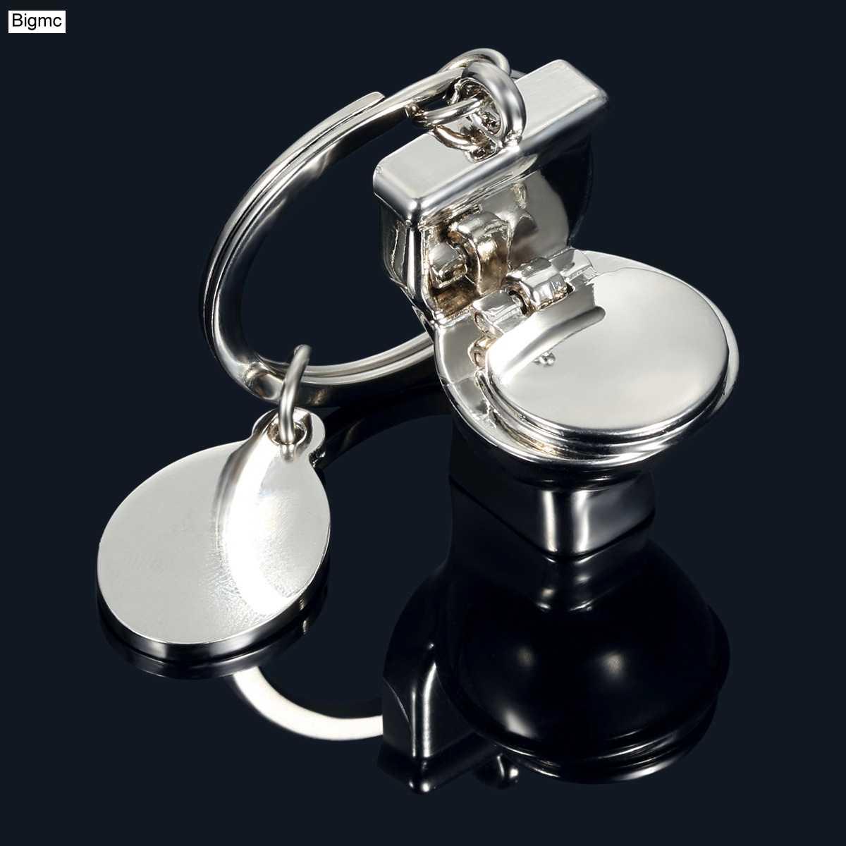 جديد المرحاض ميدالية مفاتيح معدنية الرجال النساء المرحاض حقيبة تويلت إكسسوارات جذابة سيارة مفتاح سلسلة مفاتيح حلقية موضة حفلة هدية مجوهرات K1312