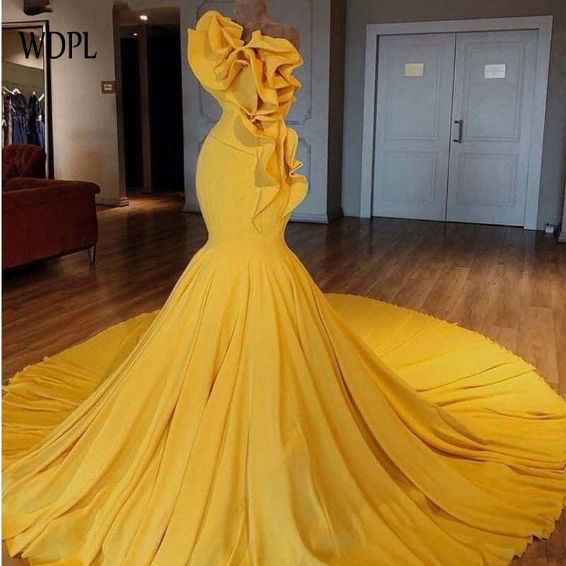 Gold   Evening     Dresses   abendkleider abiye Formal Gowns Mermaid Long   Evening     Dress   Ruffled robe de soiree Dubai   Evening   Gown Custom