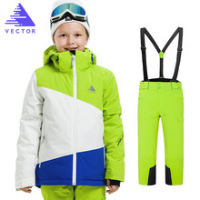 Boys Ski Jacket Children Waterproof Windproof Clothing Skiing Jacket+Pant Snow Suit Winter Warm Snowboard Outdoor Ski Suit Boys gsou snow men ski jacket snowboard jacket windproof waterproof outdoor sport wear skiing snowboard clothing male winter jacket