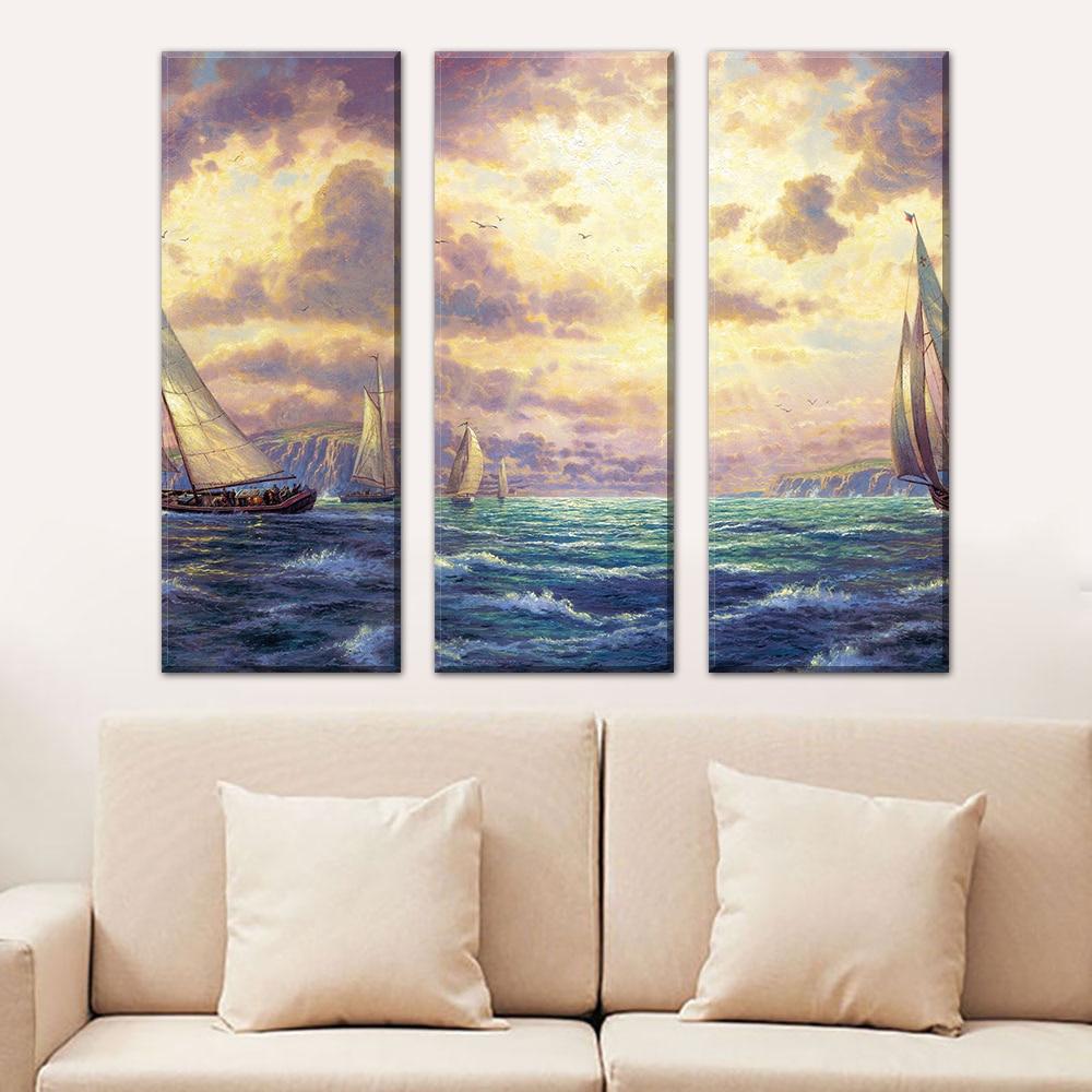 ᗑ】3 panel abstracto mar paisaje cuadros frameless arte de la lona ...
