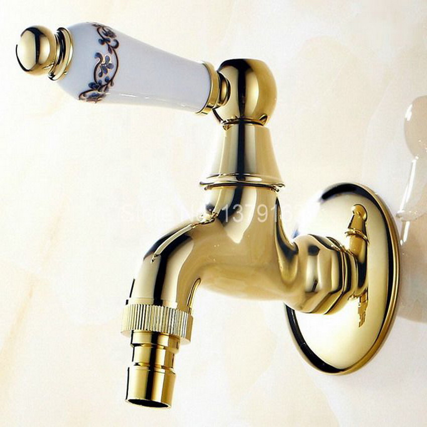 Luxury Modern Gold Color Brass Ceramic Flower Pattern Handle Washer Faucet Wall Mounted Laundry Bathroom Mop Water Tap Aav136 Selected Material Bathroom Sinks,faucets & Accessories