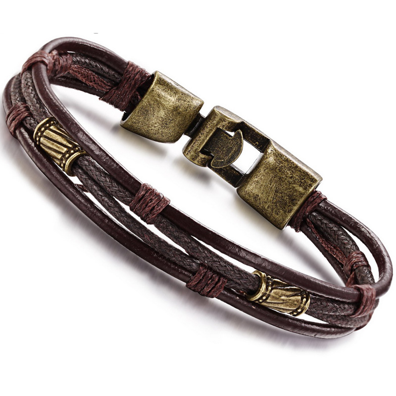 Copper Braided Rope : ③leather copper clasp braided rope ᐂ multilayer