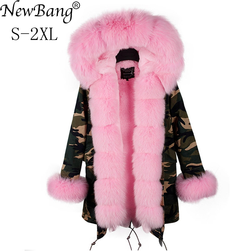 NewBang Brand Long Women Luxurious Large Fox Fur Collar Hooded Frond Fly Coat Thick Warm Rabbit Fur Liner Parka Winter Jacket