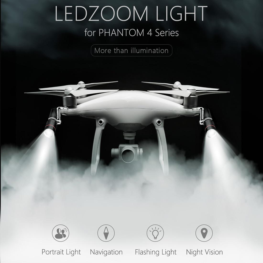 PGYTECH LED Zoom Light Navigation Lamp Headlight Spotlight for DJI Phantom 4/4 Pro/4 Pro+ Drone квадрокоптер dji phantom 4 pro с экраном