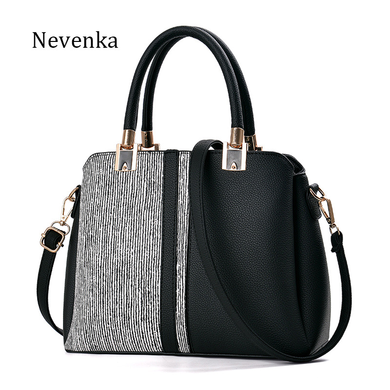 Nevenka Brand Women Pu Leather Handbag Fashion Striped Casual Tote Luxury Famous Designer Bags Messenger Bag 2017 Bag for women [whorse] brand luxury fashion designer genuine leather bucket bag women real cowhide handbag messenger bags casual tote w07190