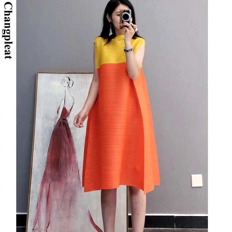 Changpleat Summer New Women Dress Miyak Pleated Fashion Color Matching Loose Stand Collar Large Size Female A-line Dresses Tide