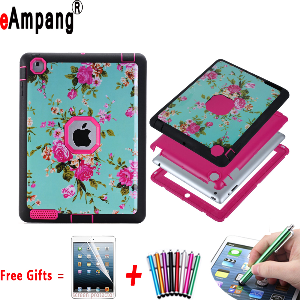 Case for Apple iPad 2 3 4 Resistant Hybrid Three Layer Floral Heavy Duty Tablet Shell Protector Cover Case for iPad 2 3 4 9.7 case for apple ipad pro plus 12 9 tablet heavy duty rugged impact hybrid case kickstand protective cover for ipad pro 12 9