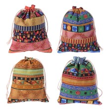 Drawstring Jewelry Pouch Cotton Linen Gift Bags Wedding Favors Egyptian Style Drawstring Bag(China)