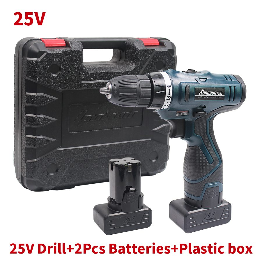25V Cordless Electric Drill Lithium Battery 2 Cordless Screwdriver Double Speed Electric Screwdriver Household Electric Tools
