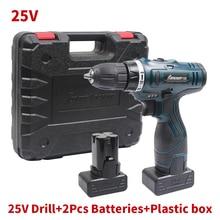 25 V Batería de Litio * 2 Destornillador Sin Cuerda Taladro Eléctrico inalámbrico Doble Velocidad Eléctrico Destornillador Herramientas de Electrodomésticos