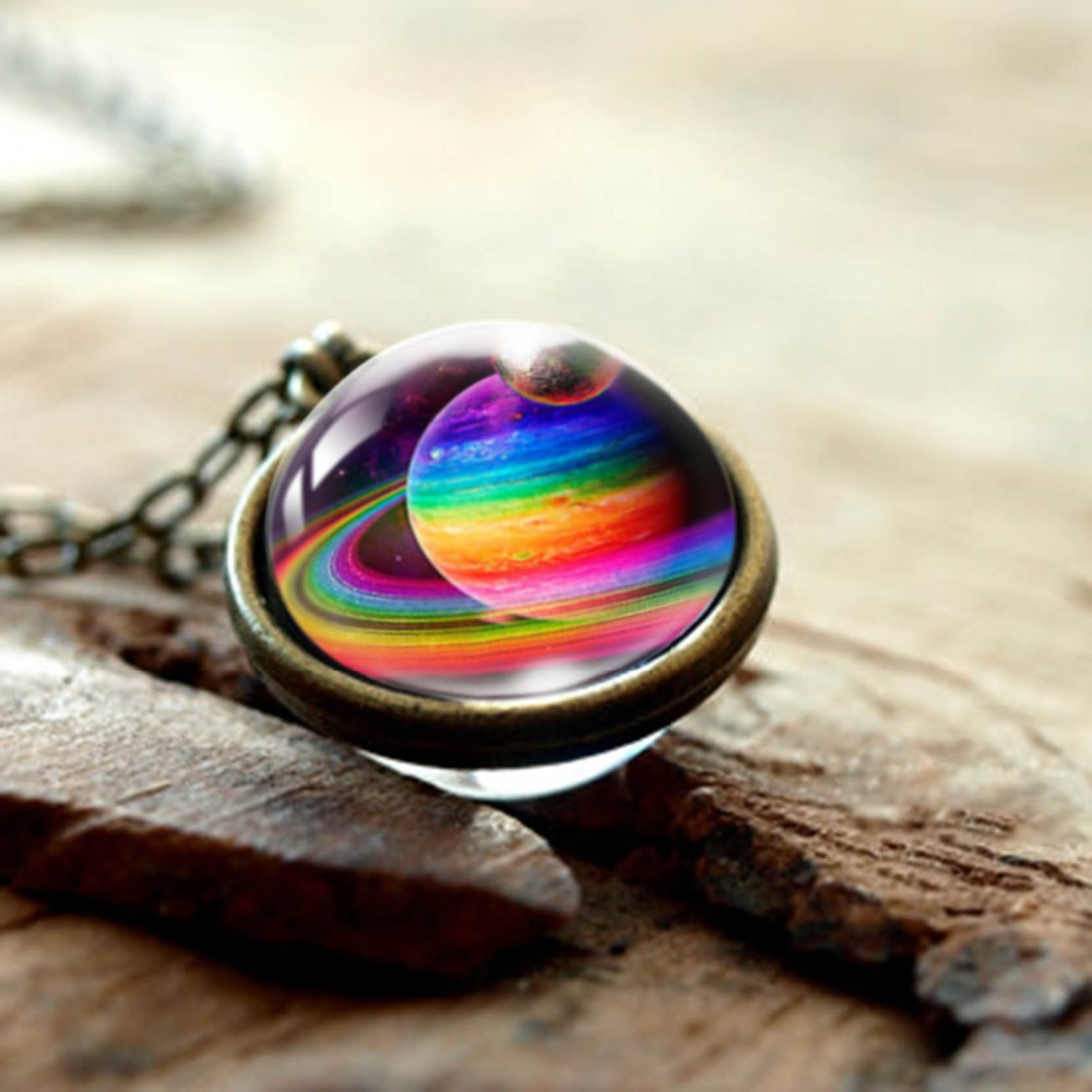 New Nebula Galaxy Double Sided Pendant Necklace Glass Art Picture Handmade Statement Universe Planet Jewelry Necklace