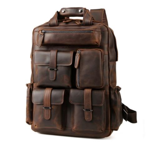 Для мужчин Weekender сумка большой enuine кожа рюкзаки повседневное стиль Carry On дорожные сумки мужской коричневый прочный рюкзак