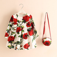 New Princess Dress For Girls Printed Flowers Long Sleeve Costumes For Children Clothing With Bag 2017
