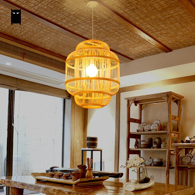 Bamboo Wicker Rattan Shade Lantern Pendant Light Fixture Rustic Asian Chinese Japanese Hanging Lamp Teahouse Dining Table Room