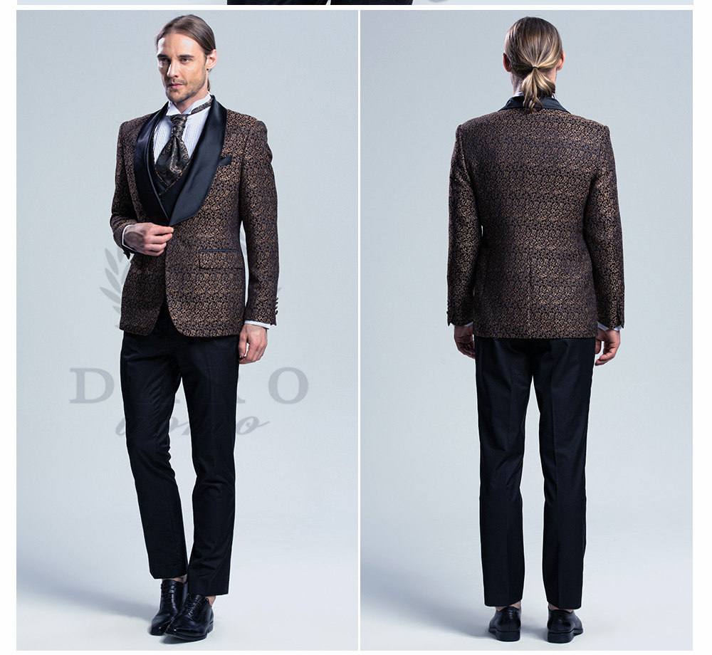 DARO 2018 New Men Suit 3 Pieces tuxedo Slim Fit blue grey white for ...
