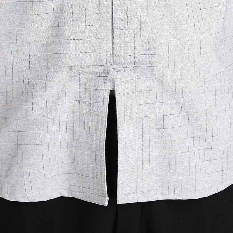 Beige verano hombres algodón Lino Kung Fu camisa tops tradicional chino tang ropa talla S M L XL XXL XXXL hombre Camisa 2602-2A