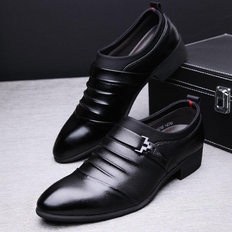 D'affaires Muhuisen Robe Printemps Automne Hommes 2019 Mariage La 3844 Véritable Oxford Main Cuir Chaussures Appartements Taille En marron Noir De À OkXPiTuwZ