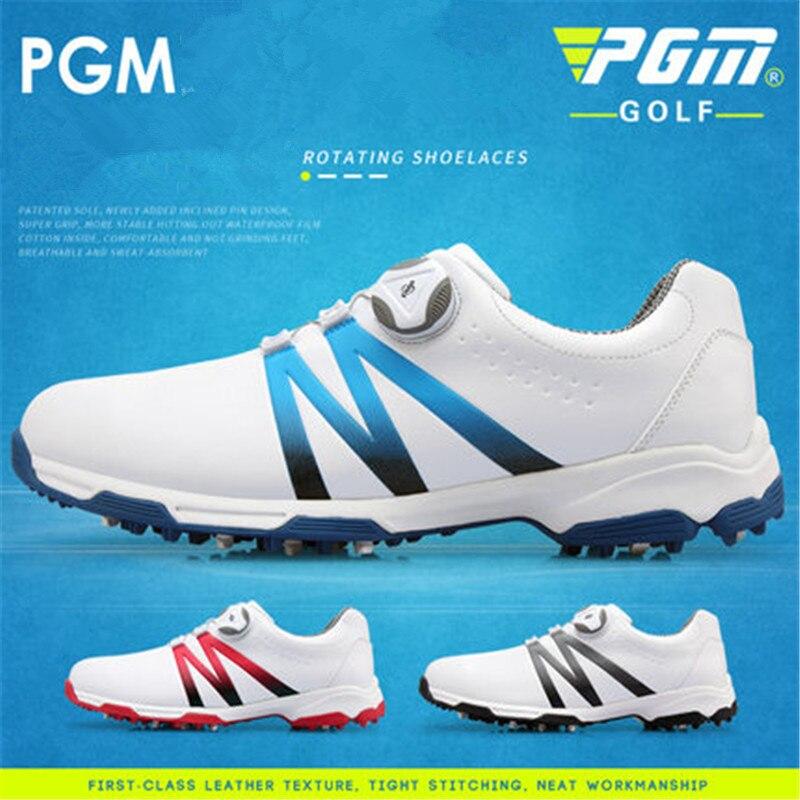 PGM tide shoes golf shoes men s waterproof shoes double patents rotating shoelaces anti slip soles