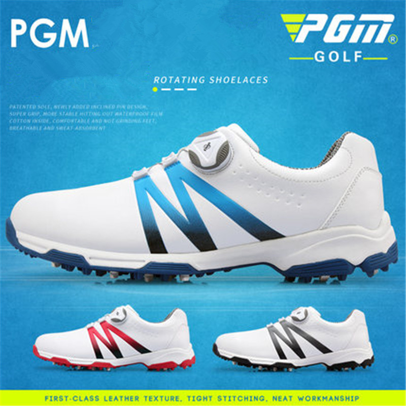 PGM tide shoes golf shoes men's waterproof shoes double patents rotating shoelaces anti-slip soles double patent XZ101 pgm genuine golf shoes men s double patent golf shoes high performance anti collision exoskeleton anti skid soles