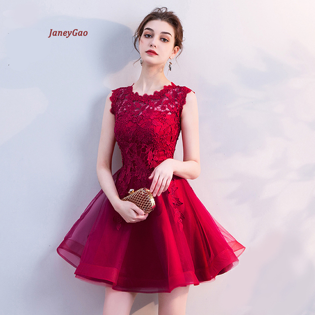 08a73734456bc US $53.27 35% OFF|JaneyGao Short Prom Dresses Women Formal Gown 2019 New  Arrival Lace Dress For Party Black Red White Champagn Stylish On Sale-in  Prom ...