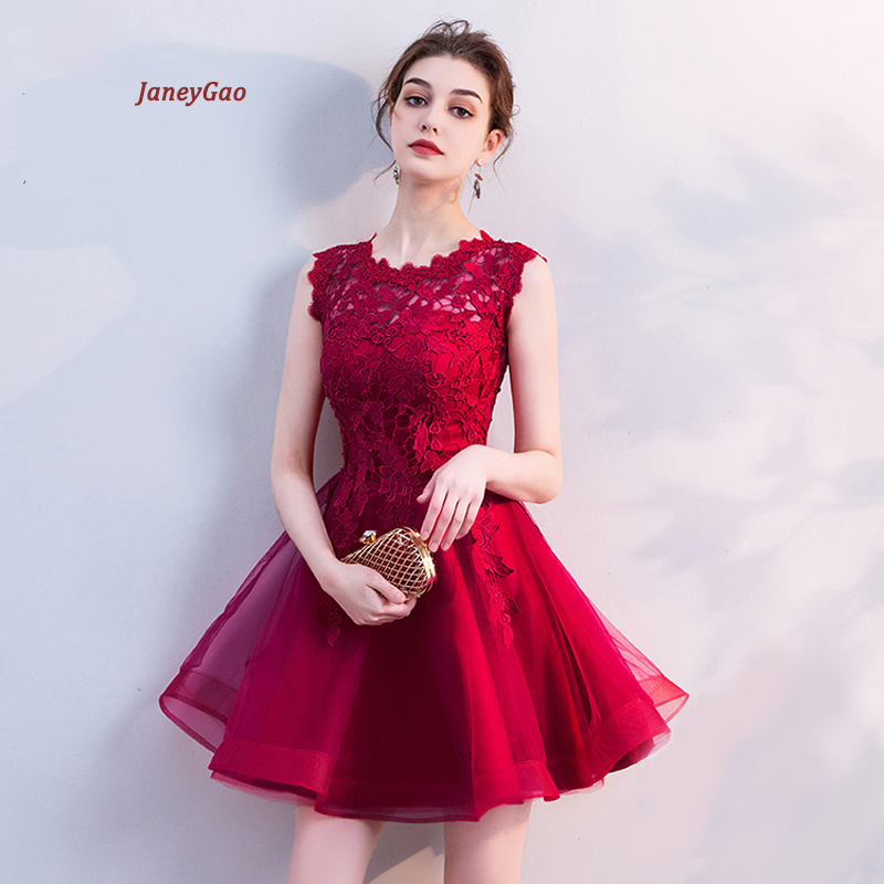 JaneyGao Short   Prom     Dresses   Women Formal Gown 2019 New Arrival Lace   Dress   For Party Black Red White Champagn Stylish On Sale