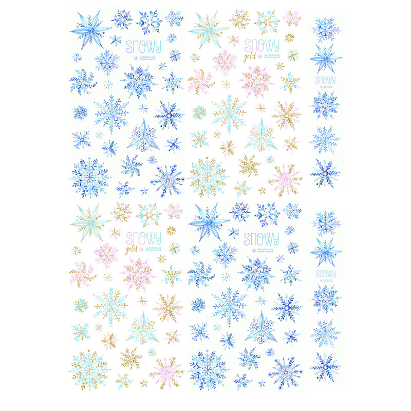 2 pcs lot watercolor snowflake diy craft uncut waterproof paper