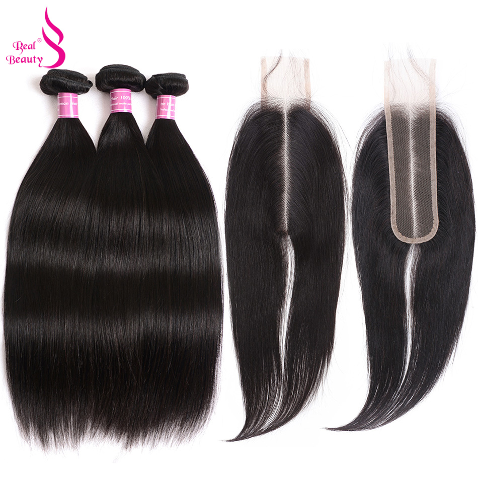 Real Beauty Raw Indian Straight Hair Bundles 3 Bundles With 2X6 Closure 100% Human Hair Bundles With Closure Remy Hair Weave