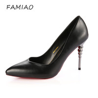 FAMIAO Women Pumps Sexy Wedding Shoes Party Zapatillas Mujer Shoes 2017 Woman Fashion Pointed Toe Autumn