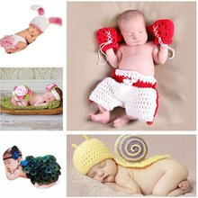 1set New Style Baby Crochet Photography Props Peacock Baby Girl Knitted Costume Newborn Photo Props(China)