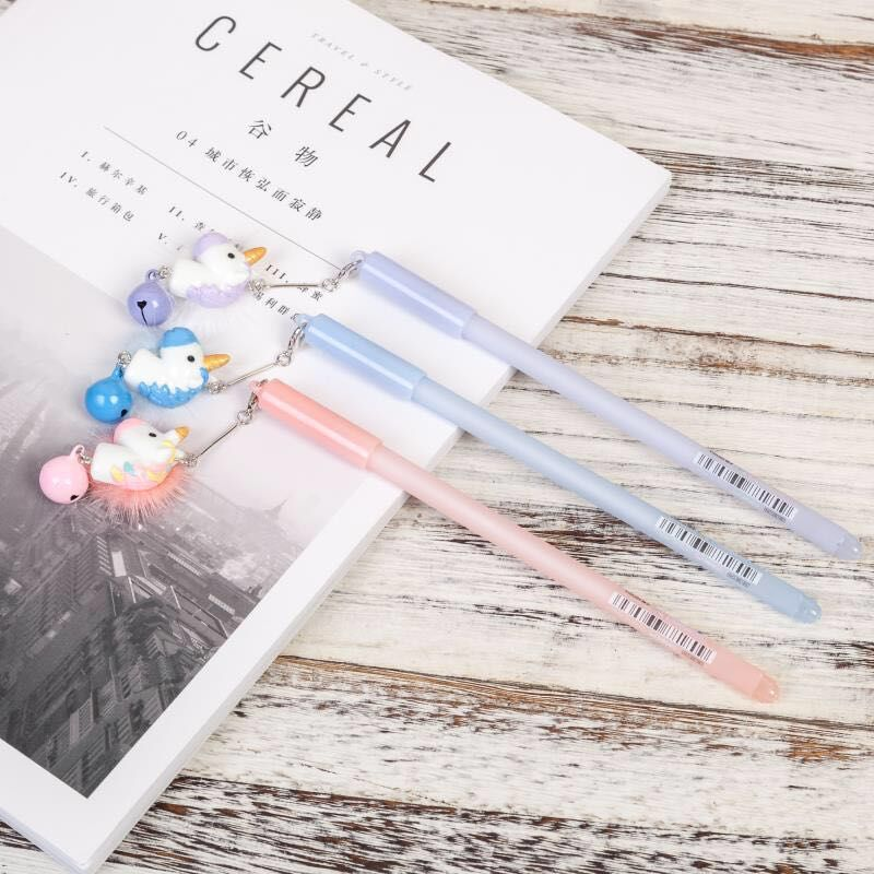20 100 pcs lovely mink bell unicorn pendant gel pen Creative students writing pen gift office stationery in Gel Pens from Office School Supplies
