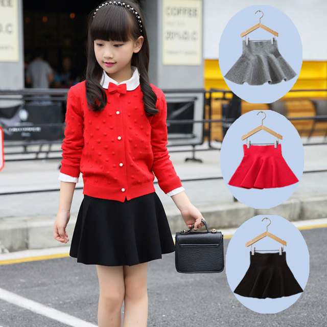 6aa82553931 Pas cher enfants fille taille tricot jupes noir rouge bébé Tutu jupe  pettijupe Plaid jupe Vestidos