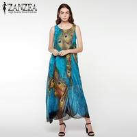 ZANZEA Summer Boho Womens Chiffon Sleeveless Floral Peacock Printed Beach Maxi Long Dress Vintage Ladies Tunic
