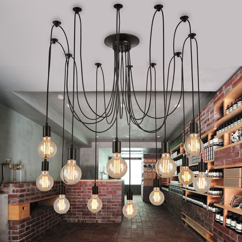 Loft Retro big Spider Chandelier Lighting DIY  Lights Edison Retro vintage E27 AC 110V 220V black lighting chandeliers loft antique retro spider chandelier art black diy e27 vintage adjustable edison bulb pendant lamp haning fixture lighting