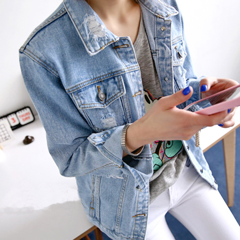 vintage women jeans jacket ripped light blue denim jacket women ...